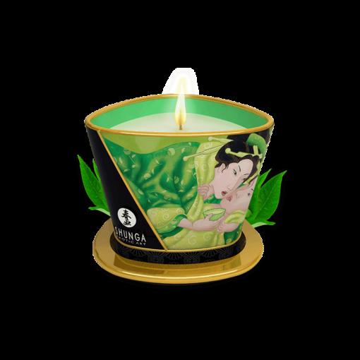 Bougie de massage lueur & caresses - Thé vert exotique - accessoires accompagnant la lingerie sexy