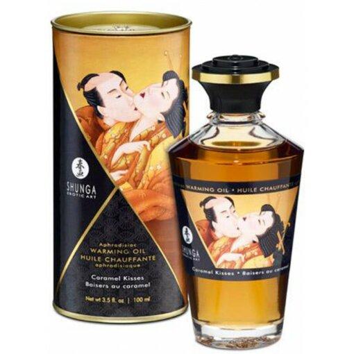 Huile chauffante aphrodisiaque caramel- massage sensuel et lingerie sexy