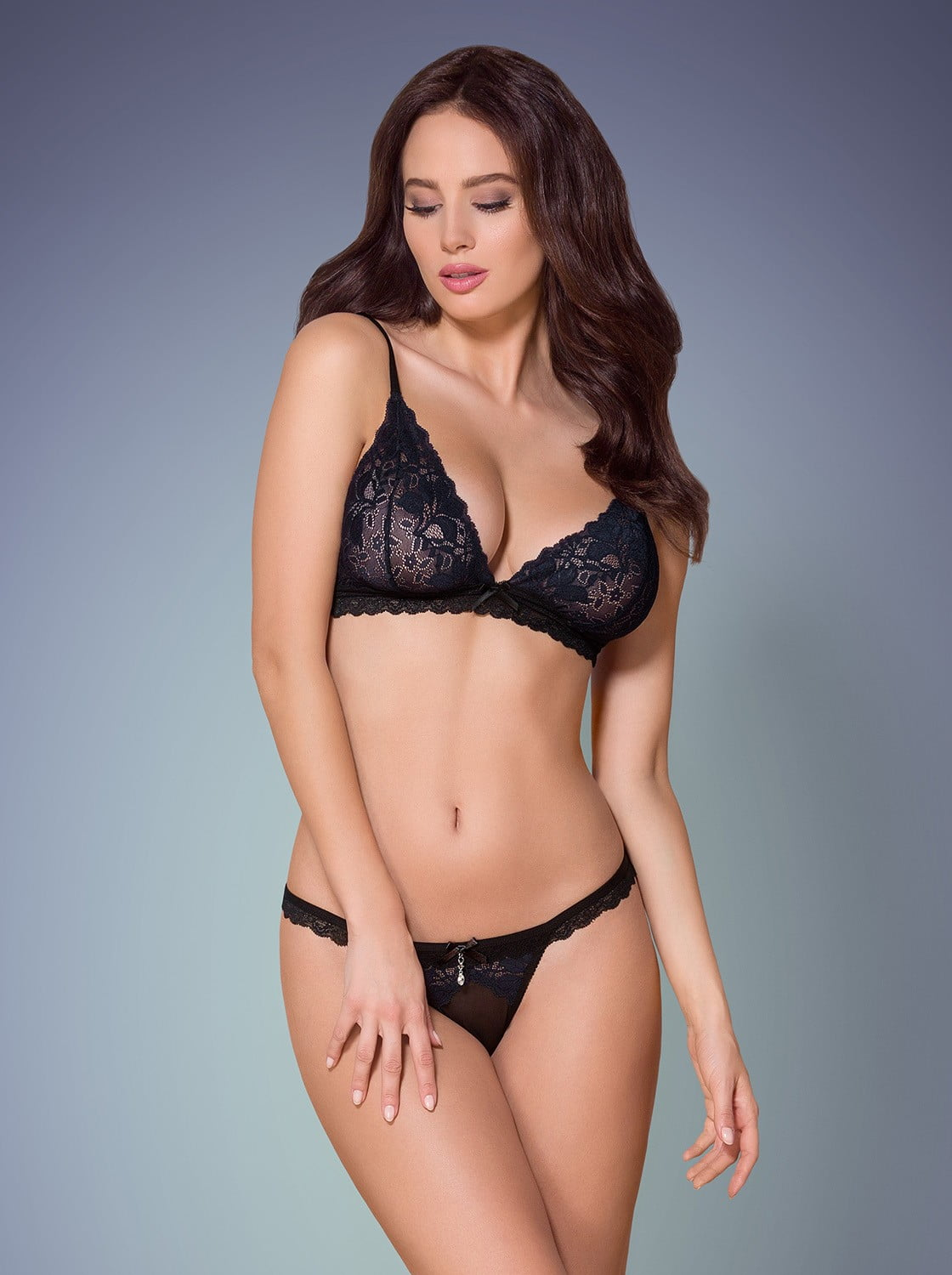 Ensemble 866-SET-1 noir- ensemble lingerie sexy